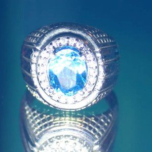 Blue Topaz 2.15ct Platinum Solid 925 Silver Ring